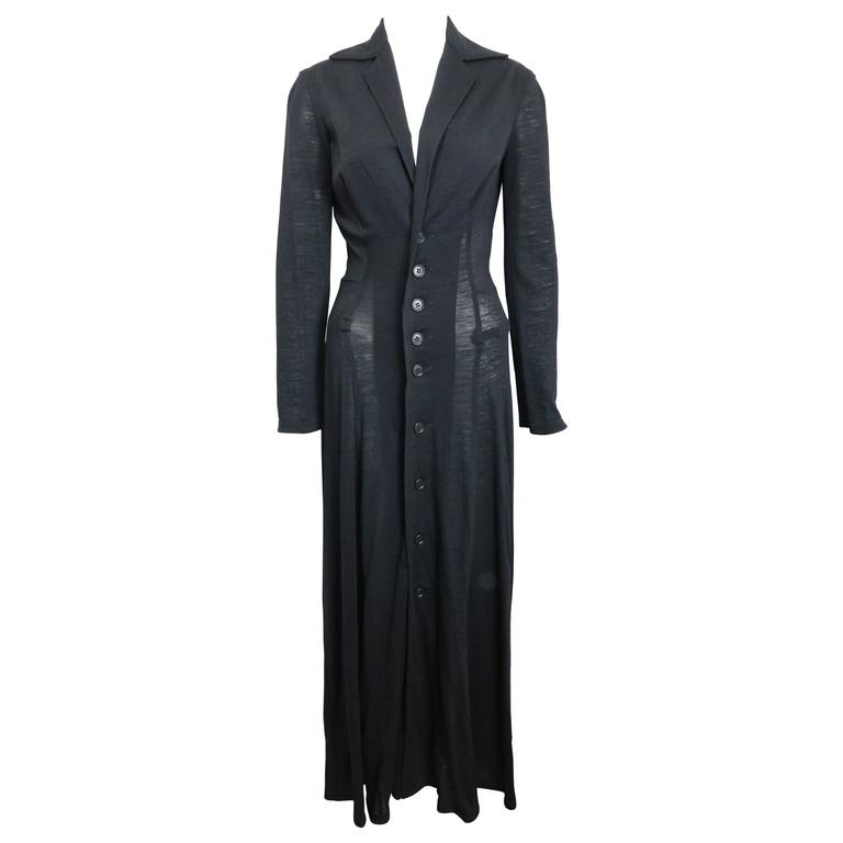 Y's by Yohji Yamamoto Black Wool Maxi Coat/Dress