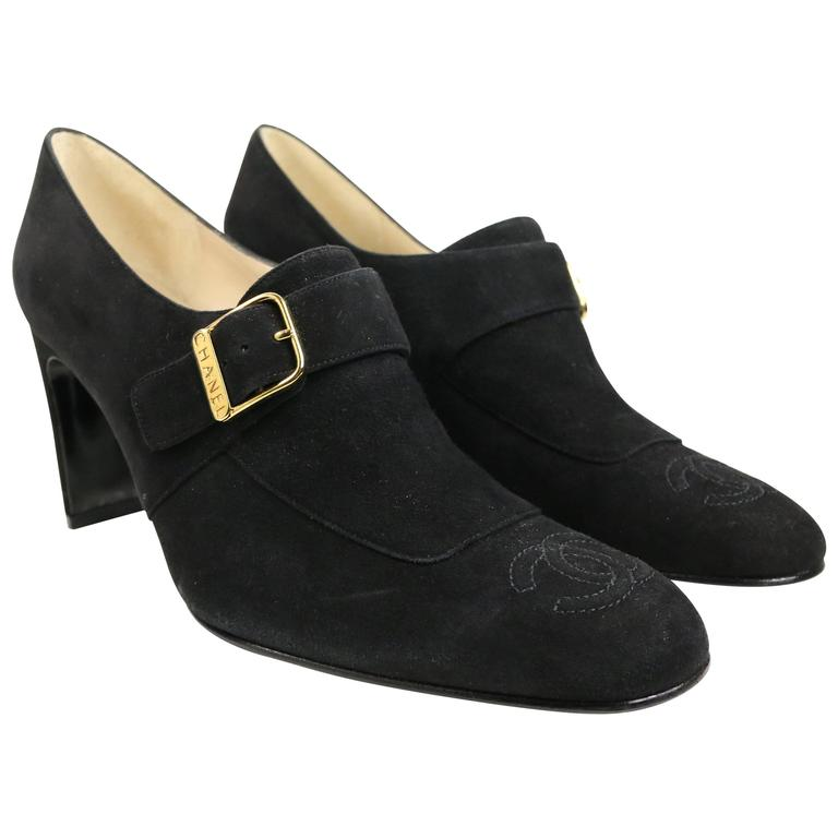 Chanel Black Suede Square Toe Ankle Strap Heels For Sale