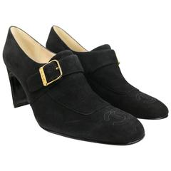 Chanel Black Suede Square Toe Ankle Strap Heels