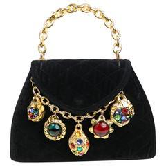 Vintage 80s Black Velvet Quilted Colour Rhinestones Charms Gold Toned Handbag