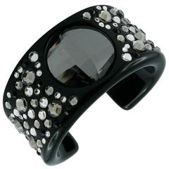 Christian Dior Black Lucite with Swarovski Crystal Cuff Bracelet