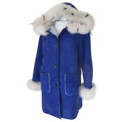 Hooded Cobalt Blue Soft Shearling coat with Fox Fur