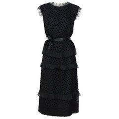 Vintage 1970s Courreges black silk ruffle and velvet dots set