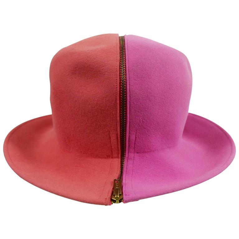 1990s ESCADA Pink Felt Zipper Hat 1