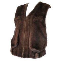sleeveless brown mink fur vest