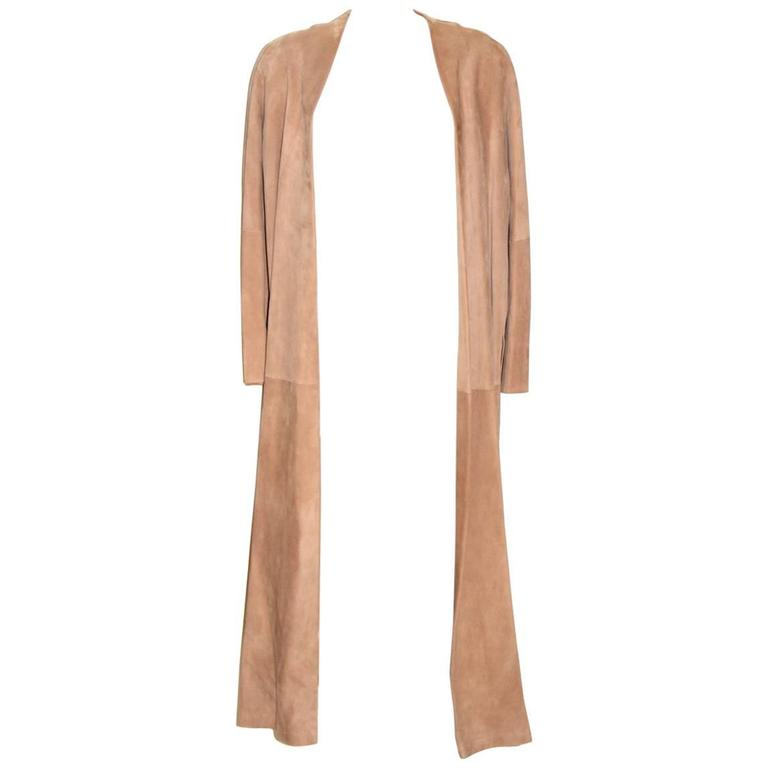 HERMES Stunning Beige Suede Anckle Length Coat  For Sale
