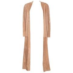 HERMES Stunning Beige Suede Anckle Length Coat