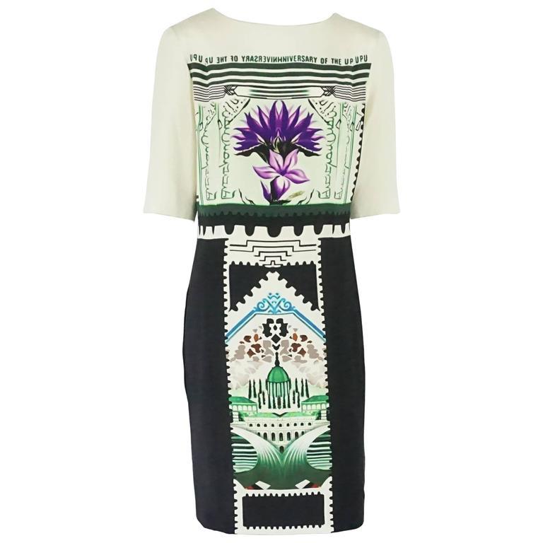 Mary Katrantzou Black and White Silk Printed Shift Dress - 14 For Sale
