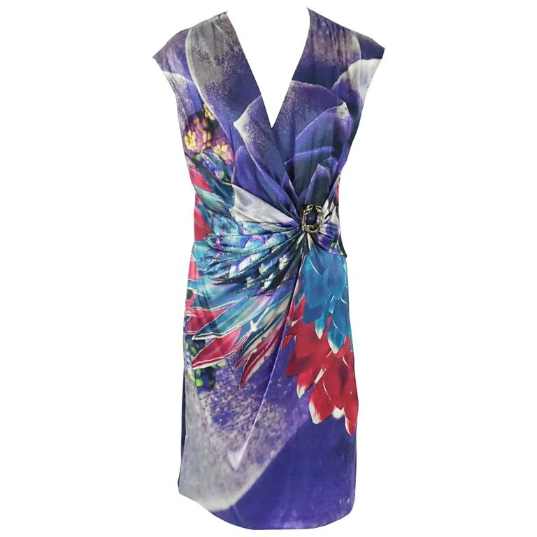 Roberto Cavalli Purple Printed Silk Ruched Dress - 44 1