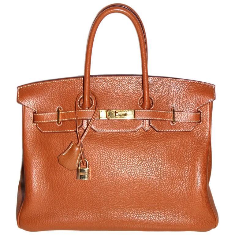 9a1b95f0af Hermes Birkin 35 Cognac Togo Leather Gold-tone Hardware Like New For Sale.  Elegant and timeless Birkin bag in ...