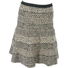 Herve Leger Black and Tan A-Line Bandage Animal Print Knit Skirt - M