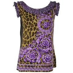 Versace Animal Print and Purple Cotton Top with Ruffles - XL