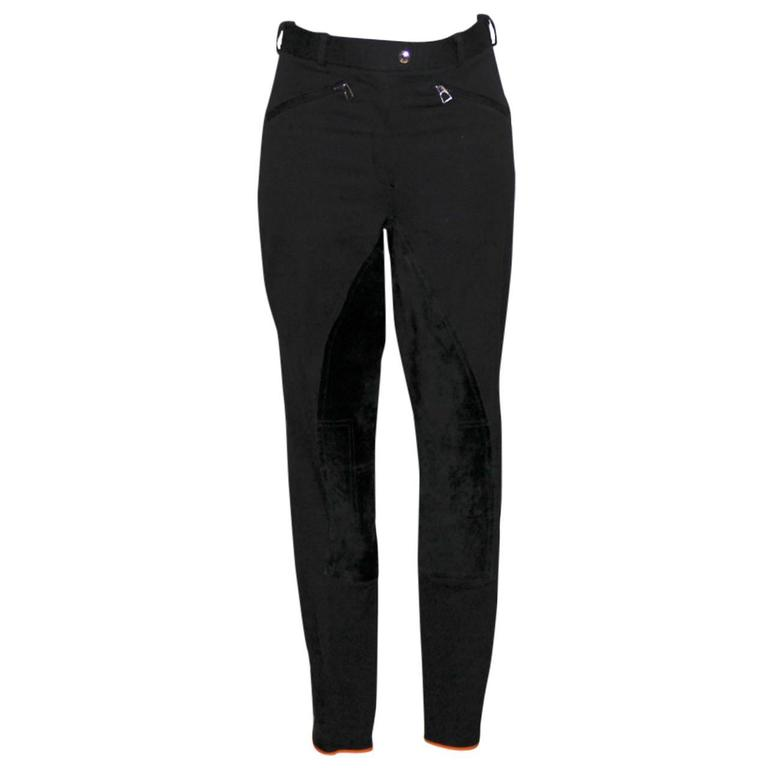 Hermes Black Riding Horse Pants - Stretch Cotton and Suede - Size S 1