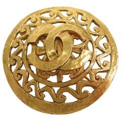 Chanel Vintage Gold CC Charm Filigree Textured Pin Brooch