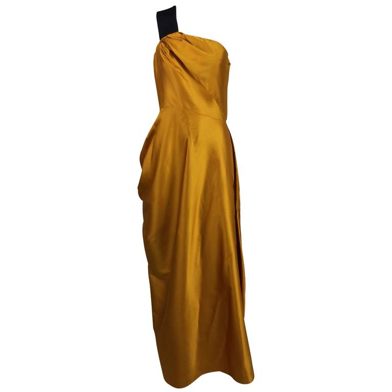 Dries Van Noten saffron silk one shoulder evening gown SS 2009 1