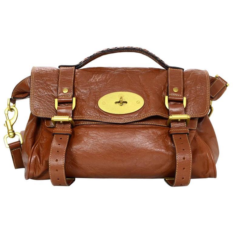 Mulberry Tan Leather Medium Alexa Satchel Bag  For Sale
