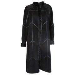 Reversible Black Suede and Fur Coat