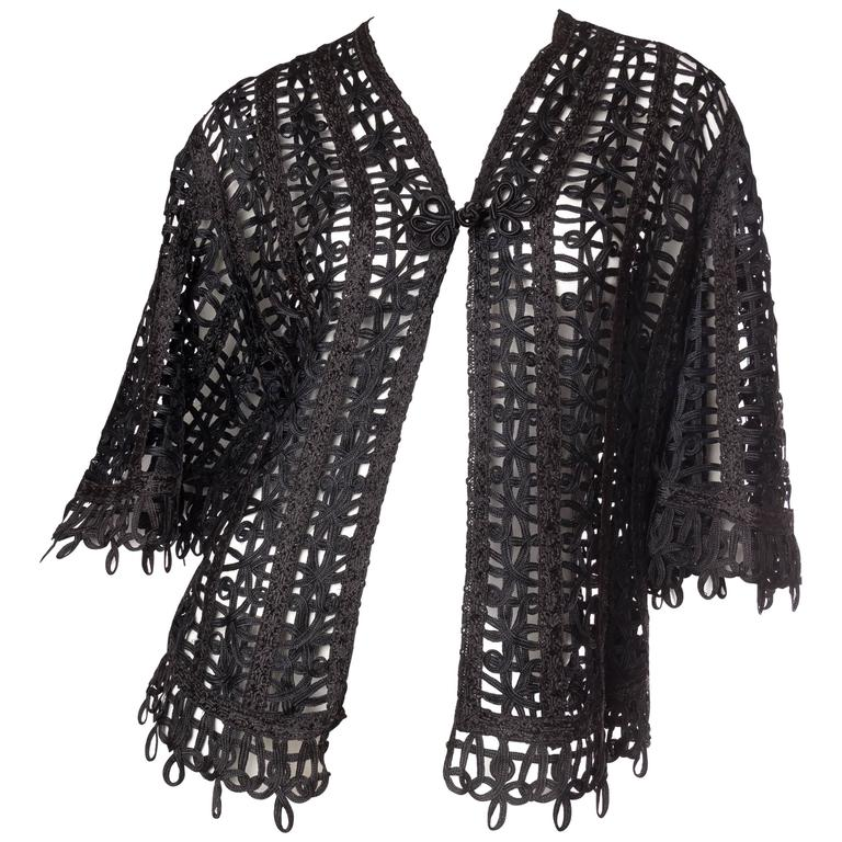 Victorian Soutache Braid Lace Jacket For Sale