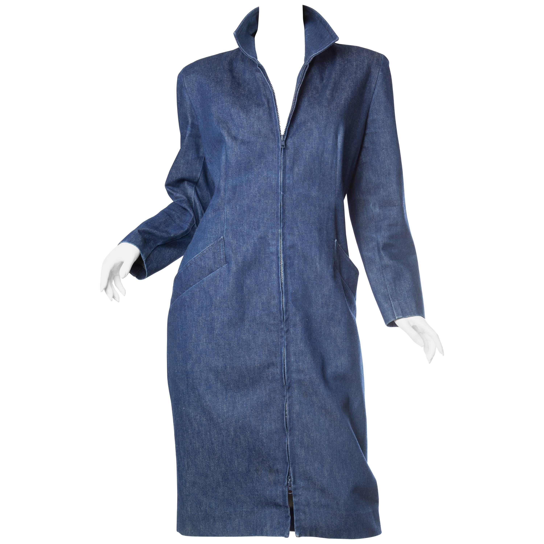 1980S DONNA KARAN Indigo Blue Denim Zip Front Dress