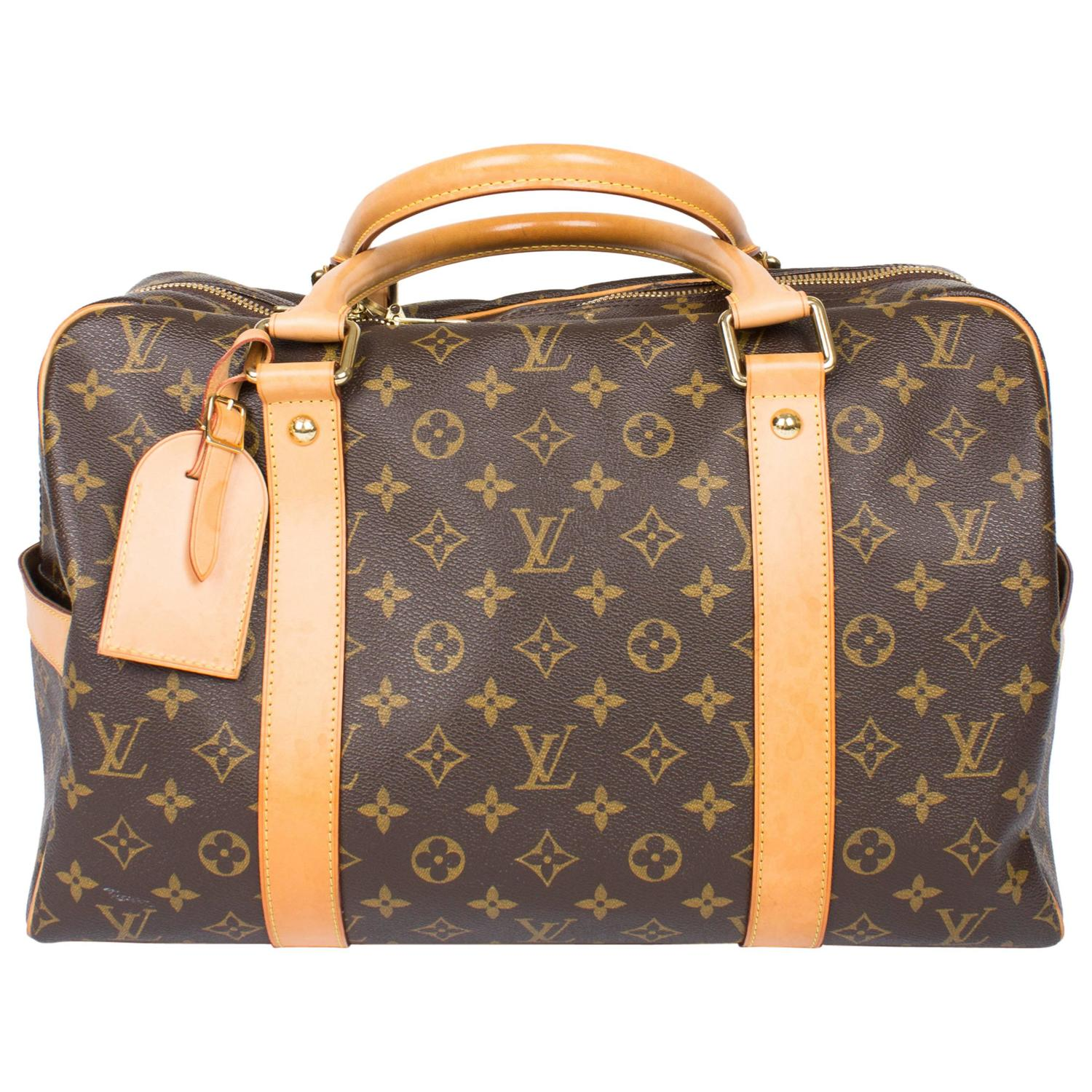 louis vuitton carry all weekend bag brown canvas beige leather for sale at 1stdibs. Black Bedroom Furniture Sets. Home Design Ideas