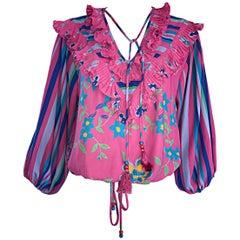 Diane Freis Vintage Pink Boho Flower and Stripes Beaded Tassel Blouse Shirt Top