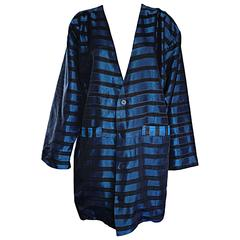 Rare Vintage Todd Oldham 1990s Blue and Black Striped Silk Cocoon Cocoon Jacket