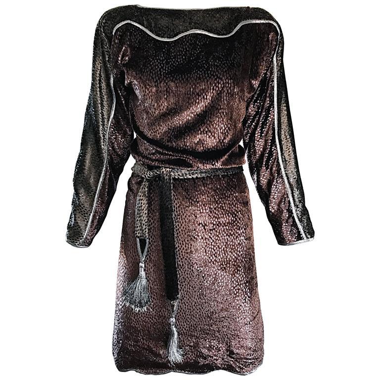 Geoffrey Beene Vintage Brown Silk Burnt Out Velvet Tassel Belt Long Sleeve Dress