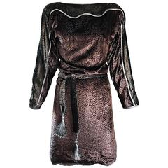 Geoffrey Beene Vintage Brown Silk Burnt Out Velvet Tassel Belt Long Sleeve Dress