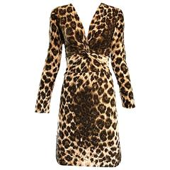 Givenchy by Alexander McQueen Vintage 1990s Leopard Cheetah Print Silk 90s Dress