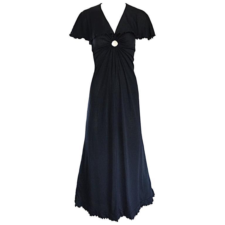 1970s Giorgio Sant Angelo Vintage Black Jersey 70s Sexy Boho Keyhole Maxi Dress