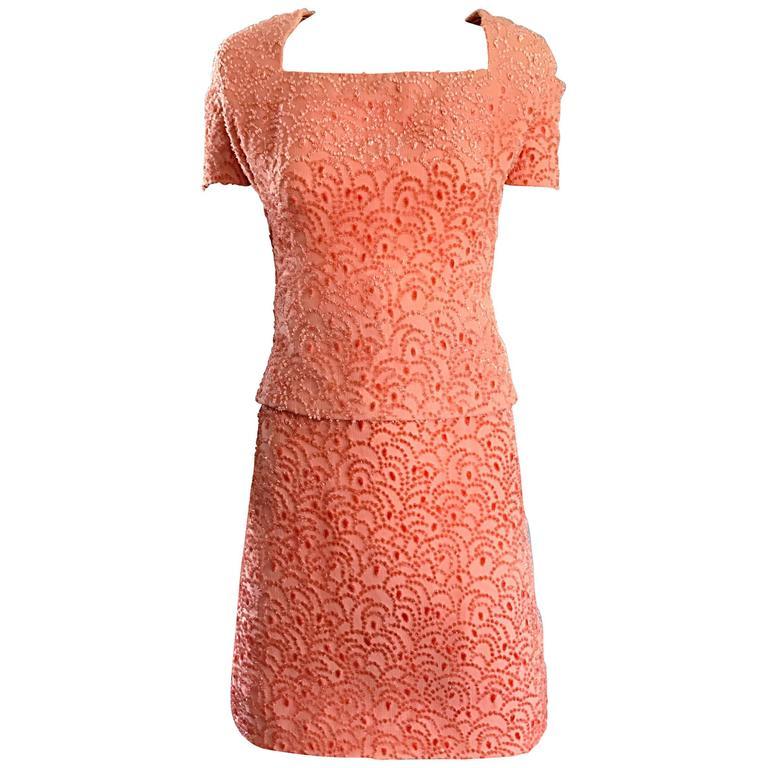 VIntage James Galanos NWT $4,370 Pink Coral Silk Burntout Velvet Chic Dress Suit