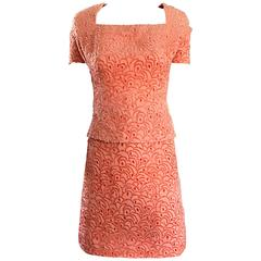 VIntage James Galanos NWT $4,370 Pink Coral Silk Burntout Velvet Chic Dress Suit