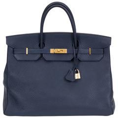 Hermès Birkin 40cm Navy & Gold Togo Bag
