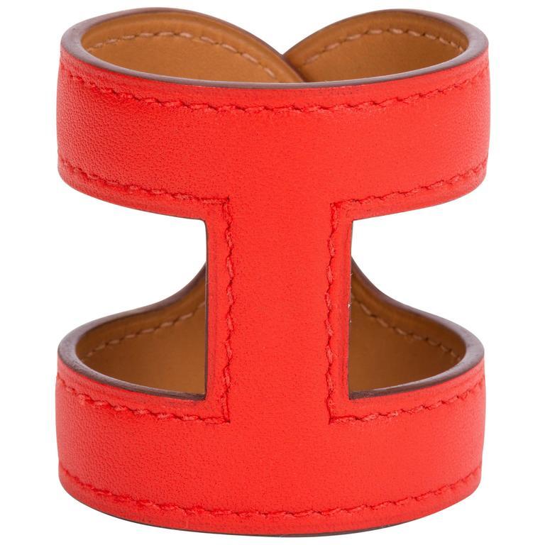 Hermès Capucine Stretch Leather Cuff Bracelet For