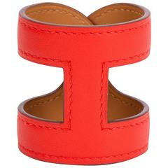 Hermès Capucine Stretch Leather Cuff Bracelet