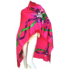 Christian Dior Sumptous Fuchsia Silk Floral Shawl / Scarf