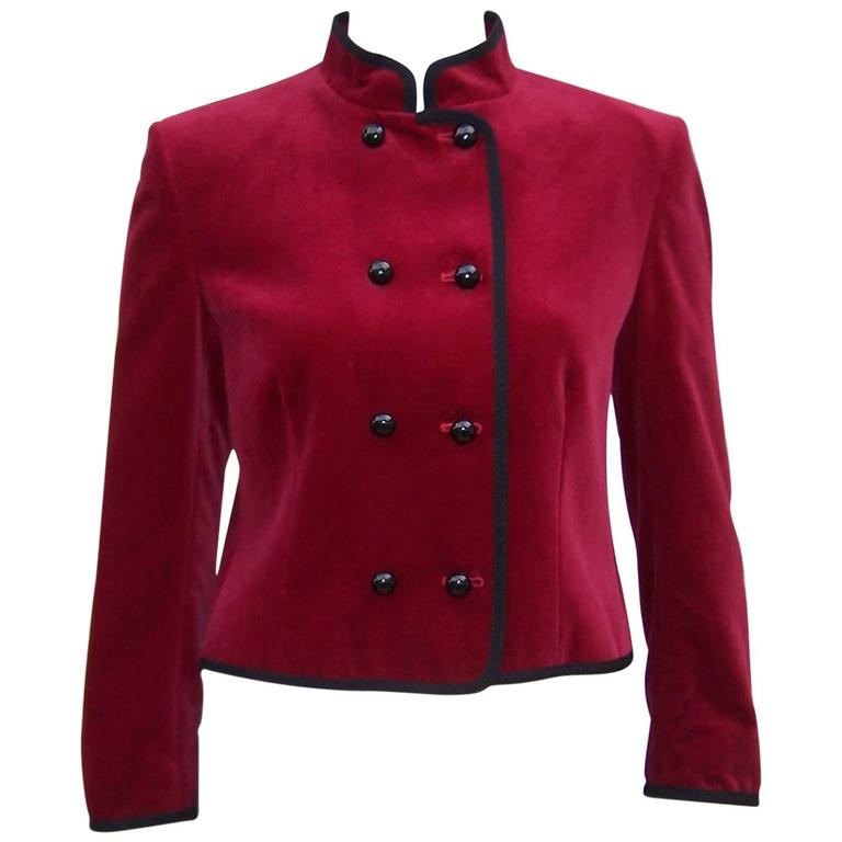 C.1980 Jaeger Cherry Red Velvet Bellhop Style Jacket