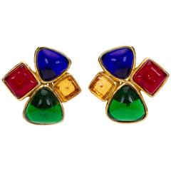 1980s Chanel Multicolor Gripoix Earrings