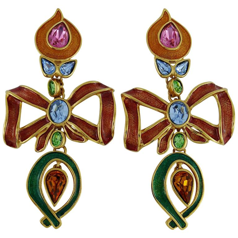 ffba6159a53 Yves Saint Laurent YSL Vintage Extra Long Jewelled Bow Dangle Earrings For  Sale