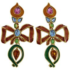 Yves Saint Laurent YSL Vintage Extra Long Jewelled Bow Dangle Earrings