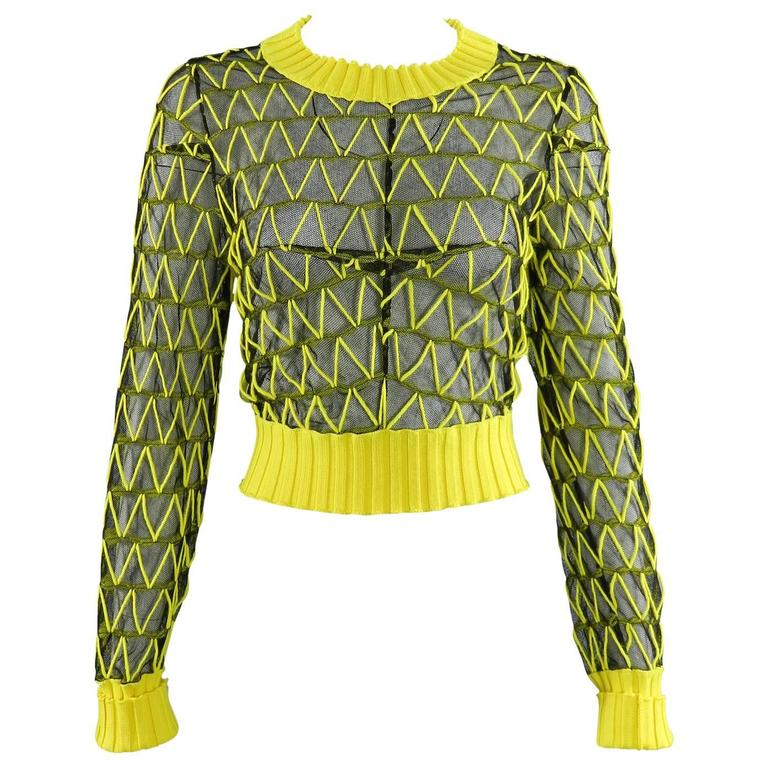 Maison Margiela Fall 2013 Runway Yellow and Black Mesh Crop Sweater 1