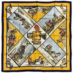 Hermes Old Gold and Navy Voyage en Russie Silk Twill Scarf by Loic Dubigeon