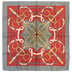 Hermes 100% Silk Twill Scarf Eperon d'Or by Henri d'Origny