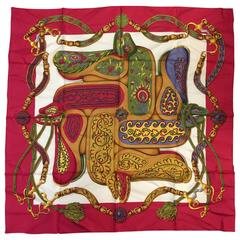 1992 Hermes Raspberry Festival Silk Twill Scarf by Henri d'Origny