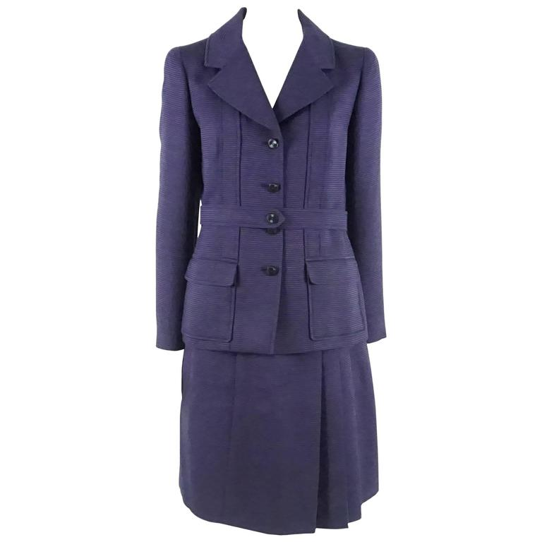 Chanel Purple Two Toned Wool/Silk Blend Ribbed Skirt Suit - 40 - 01P