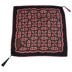 Louis Vuitton Pink, Black, and Brown Silk Print Scarf with Tassels