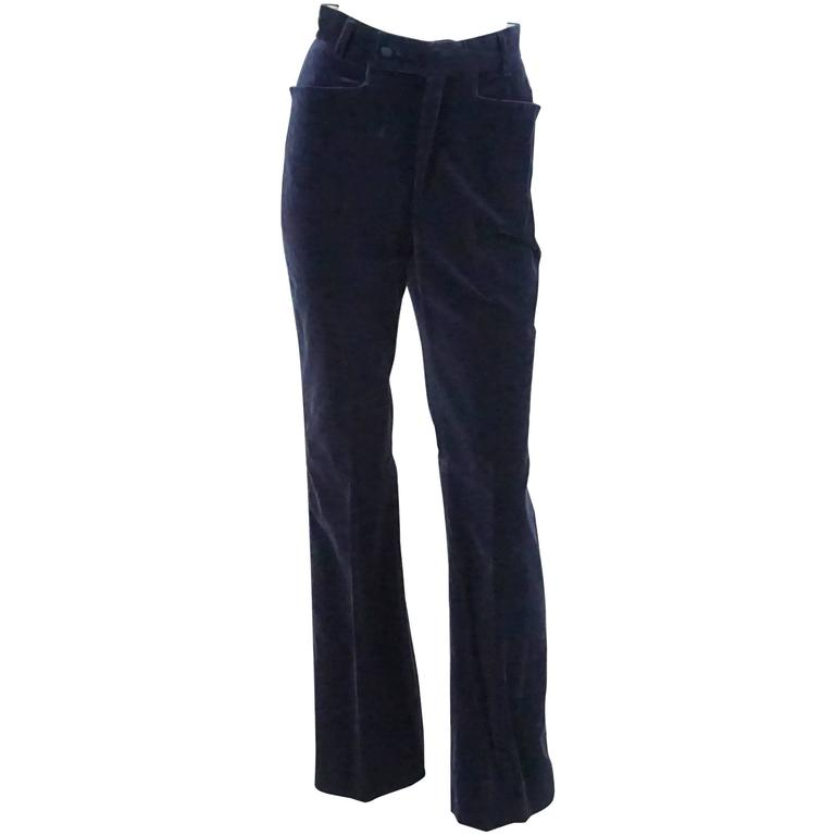 Gucci Navy Velvet High Waisted Pants with Silk Sides - 42 - 1990's  1