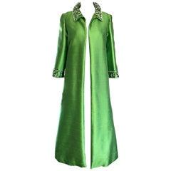 Amazing 1960s Vintage Green Silk Shantung Beaded Long Evening Opera Coat Jacket
