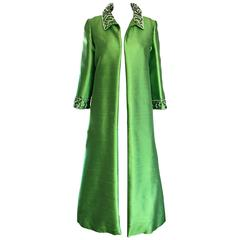 Amazing 1960s Vintage Green Silk Shantung Beaded Long Evening Opera Coat Jacket