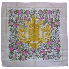 Burberry's Regal Lions Silk Floral Scarf c 1990